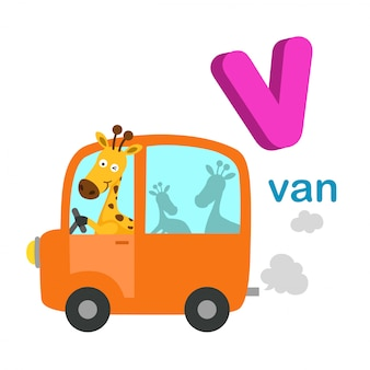 Illustration isolated alphabet letter v van