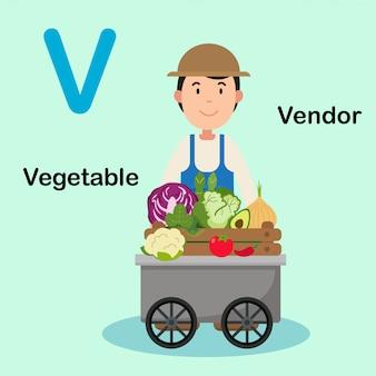 Illustration isolated alphabet letter v-vendor vegetable