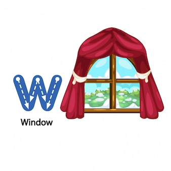 Illustration isolated alphabet letter w-window