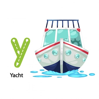 Illustration isolated alphabet letter y-yacht