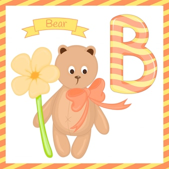 Illustration of isolated animal alphabet b with bear cartoon