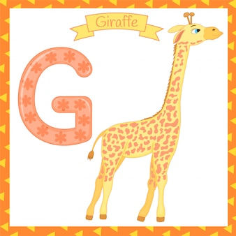 Illustration of isolated animal alphabet g for giraffe