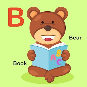 Illustration isolated animal alphabet letter b-bear,book