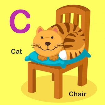 Illustration isolated animal alphabet letter c-cat,chair