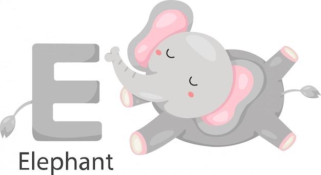 Illustration of isolated animal e with elephant