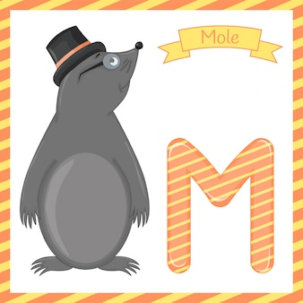 Illustration of isolated animal illustration of an alphabet m is for mole