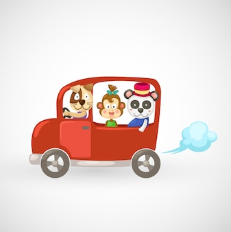 Illustration of isolated animals in red car