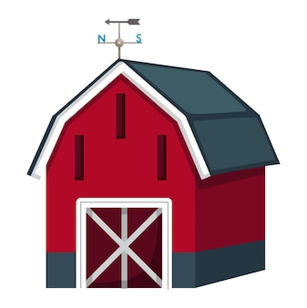 Illustration of isolated barn house on a white background