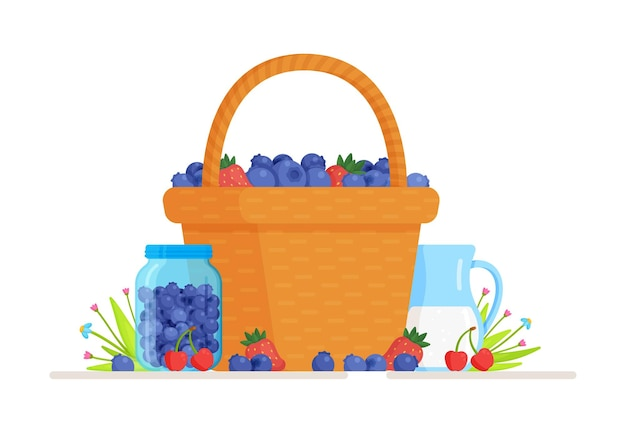 Illustration of an isolated basket of fresh blue berries