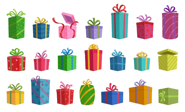 Illustration of isolated cartoon icon gift box with ribbon.