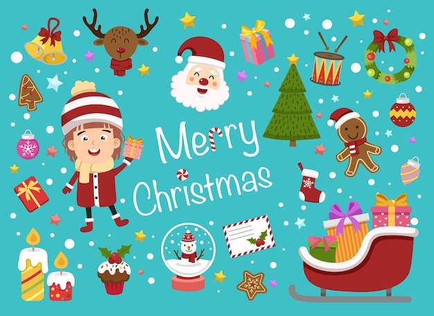 Illustration isolated of christmas set vector