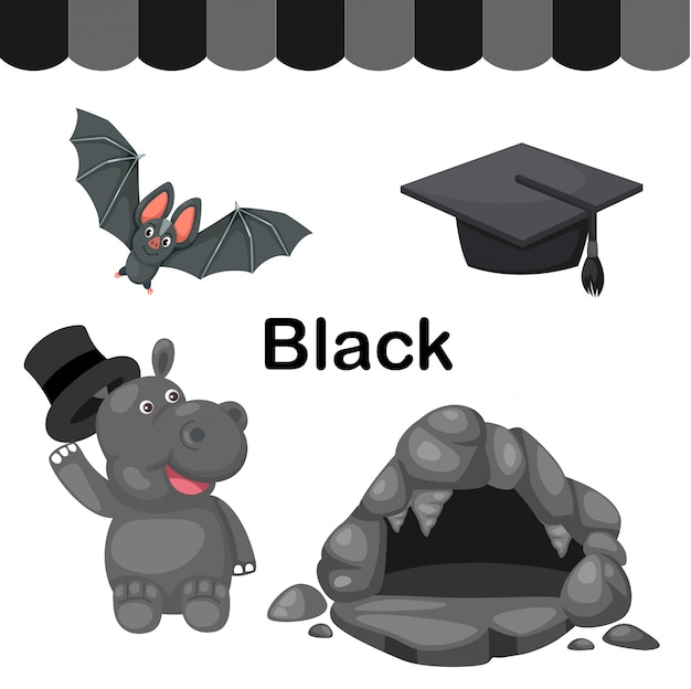 Illustration of isolated color black group