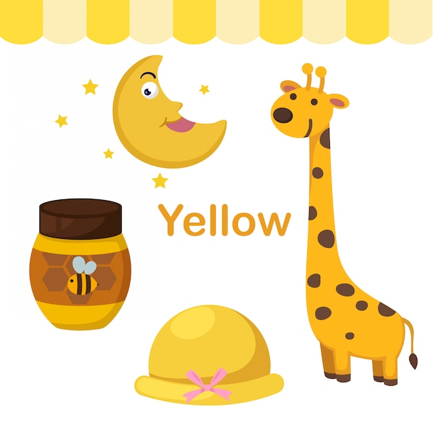 Illustration of isolated color yellow group