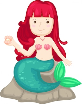 Illustration of isolated hand drawn little mermaid