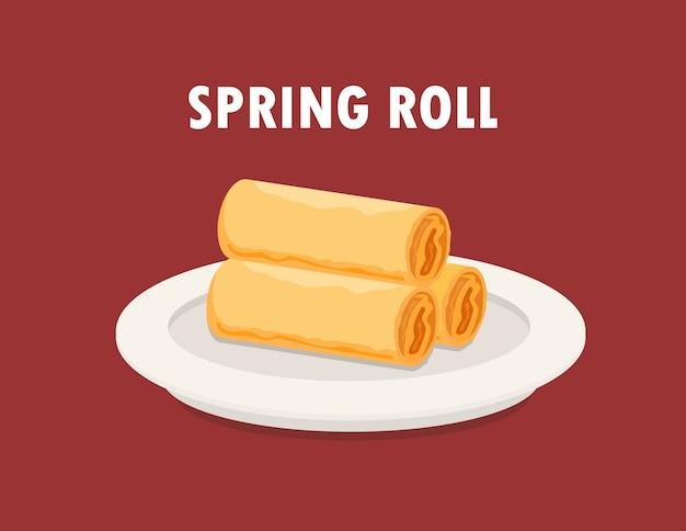 白いプレート上の中華料理の春巻きの分離イラスト。