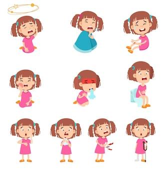 아픈 귀여운 소녀의 고립 된 그림