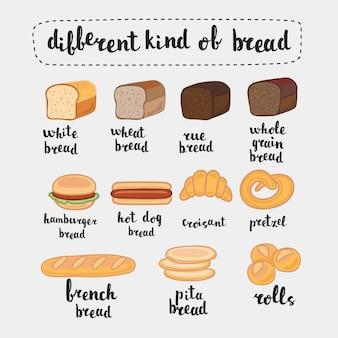 Иллюстрации, изолированные на белом. набор мультяшной еды: хлеб - ржаной хлеб, пшеничный хлеб, цельнозерновой хлеб, французский багет, круассан и буквенное название на английском языке.