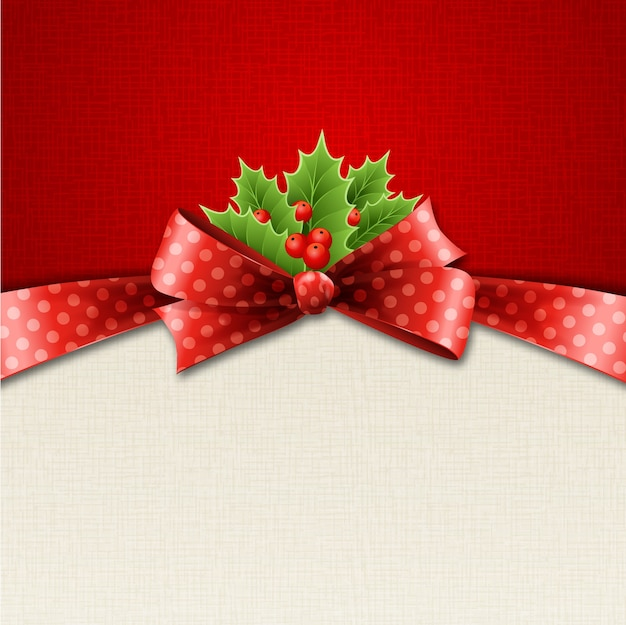 Illustration isolated realistic christmas holly and red bow.