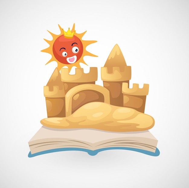 Illustration of isolated sand castle