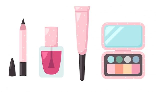 Illustration of isolated set cosmetics