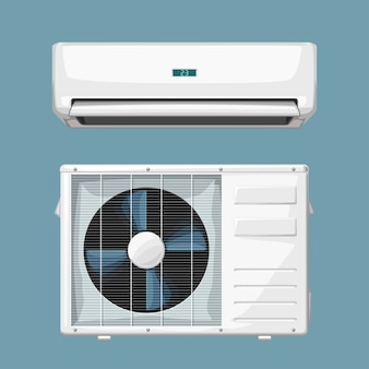Illustration of isolated split air conditioner system white color on blue