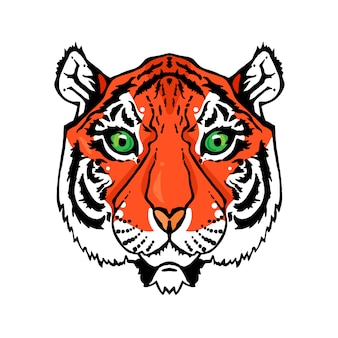 Illustration of isolated tiger head in vintage style for textiles, print and tattoo.