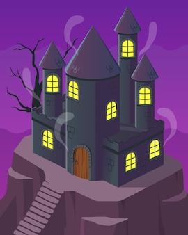 Illustration isometric, ghost castle on highland