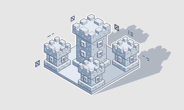 Illustration of an isometric medieval castle