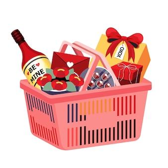 幸せなバレンタインデーのカードや背景に分離されたバナーの装飾のための食料品の買い物かごのイラスト等角投影オブジェクト