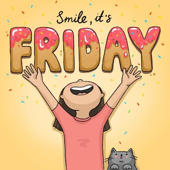 Illustration it's friday funny girl with a cat