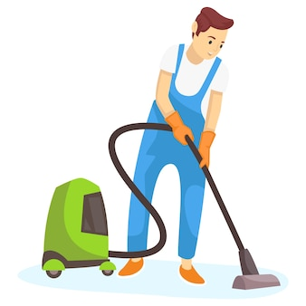 Illustration of a janitor cleaning various dust on the floor of a building