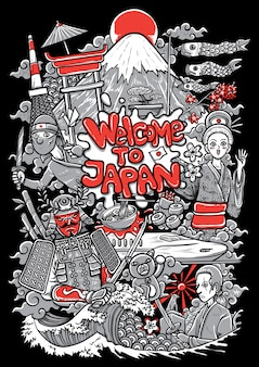 Illustration of japan cultures and landmarks