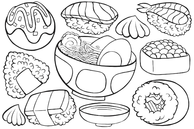 Illustration of japan food doodle in cartoon style