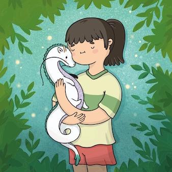 森の中の小さなドラゴンのイラスト日本人の女の子