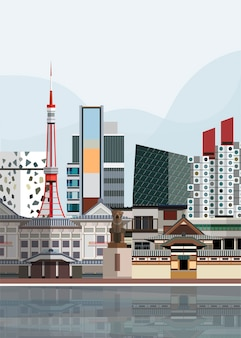 Illustration of japanese landmarks