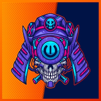 Illustration of japanese skull robotic purple pink head with a samurai, and horn on the blue background. hand-drawn illustration for mascot esport logo