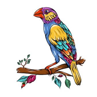 The illustration of the java sparrow bird zentangle with a rainbow body and red beak is on the branches of the tree
