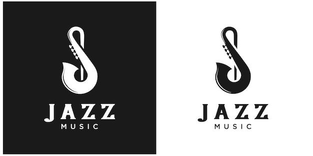 Иллюстрация джазовая мелодия дизайн логотипа премиум векторы