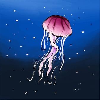 Illustration of jelly fish in ocean