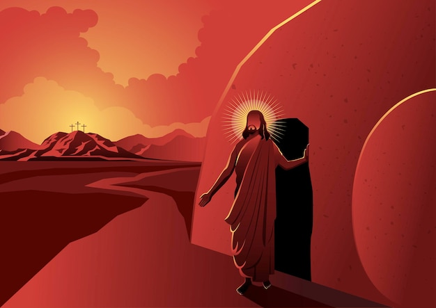 An illustration of jesus walked out of a tomb