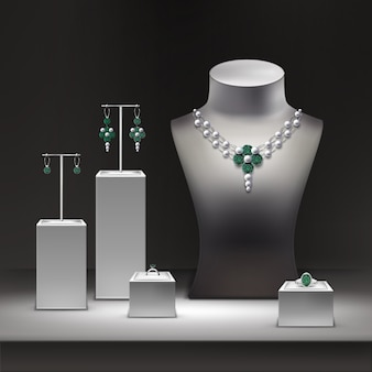 Illustration of jewelry shop and set of jewelry on display in showcase