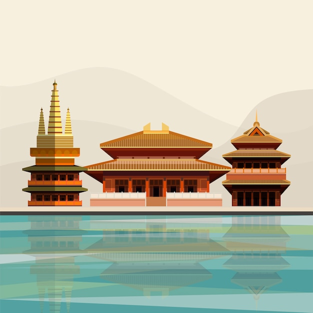 Illustration of jing'an temple