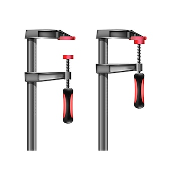 Illustration of joiner clamp with red handle illustration isolated on white background engineering equipment
