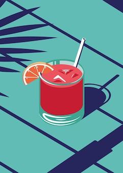 Illustration of juice in summer on the beach