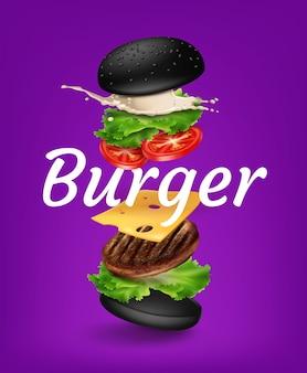 紫色の背景に黒いパン、マヨネーズ、レタス、トマト、チーズ、パティとテキスト爆発ハンバーガーのためのスペースとイラストジャンプハンバーガー広告