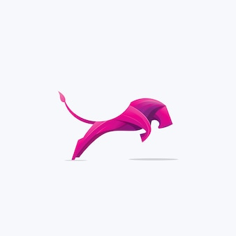Illustration of jumping lion logo