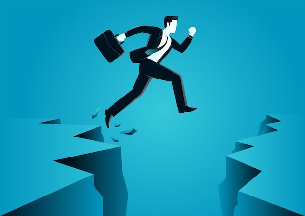 Illustration of a jumps over the ravine. describe challenge, obstacle, optimism.