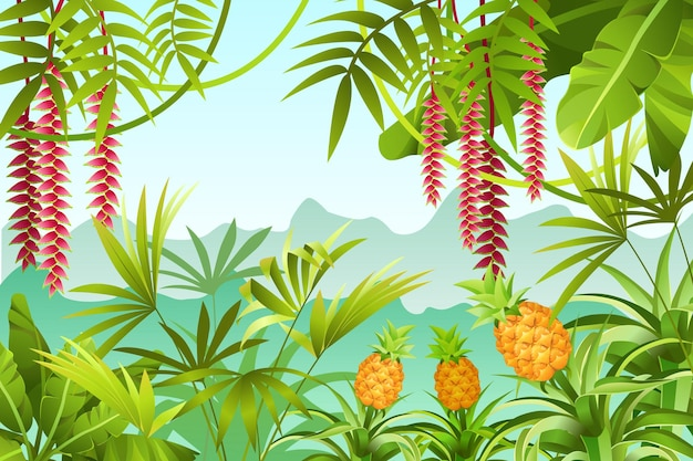 Illustration of jungle with banana trees.