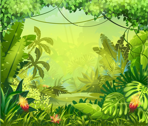 Illustration jungle with red flowers
