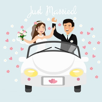Illustration of just married couple driving a white car in honeymoon trip. wedding bride and groom in flat cartoon style.